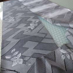 Komon Kimono Mischgewebe grau