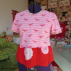 T - Shirt mit Kimono Stoff...