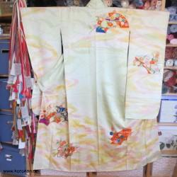 Furisode Seiden Kimono,...