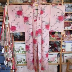 Hitoe Meisen Komon Kimono,...