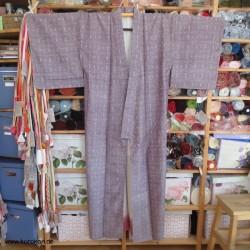 Komon Tsumugi Seiden Kimono...
